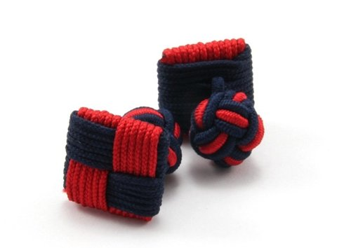 Silk knots red and navy