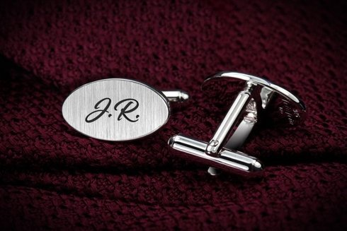 Silver Cuff Links with handwritten text
