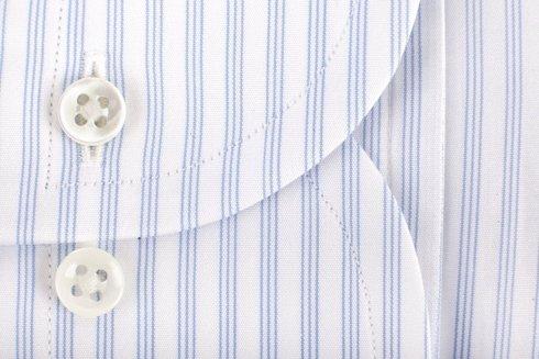 Sky blue striped shirt with semi-spread collar