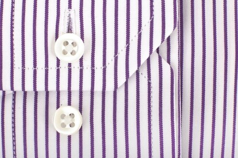 Violet stripe shirt with semi-spread collar