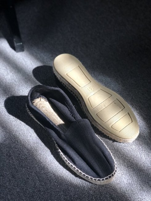 black Espadrille with herringbone pattern