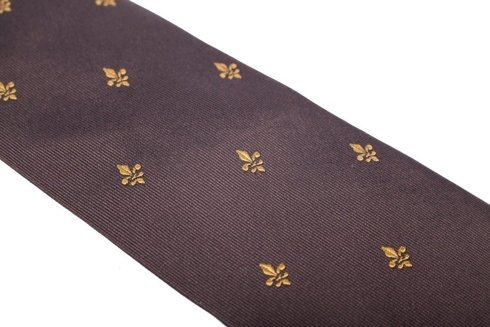 brown SIX FOLD TIE with Scout Emblem