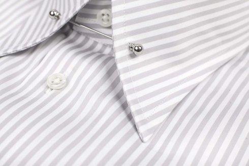 gray pin collar shirt