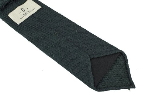 green grenadine shantung untipped tie