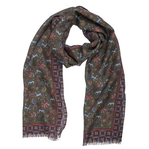 green printed scarf muslin wool and silk