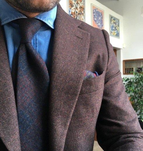 grey check cashmere TIE