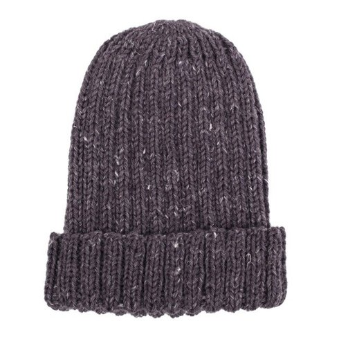 Hand-knit graphite yarn beanie