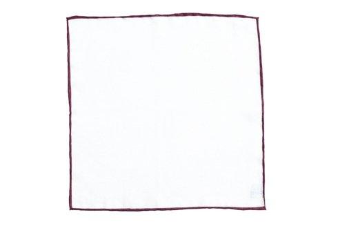 linen pocket square with burgundy border