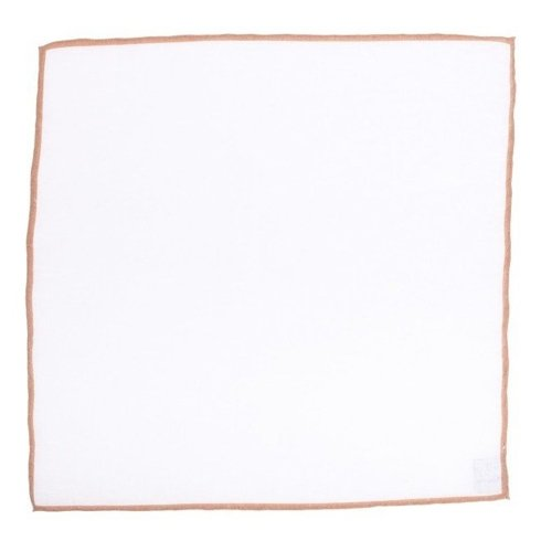 linen pocket square with mustard border