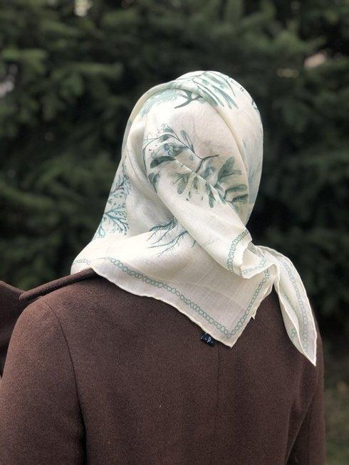 muslin wool and Silk scarf 100 cm