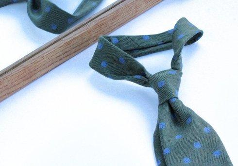 olive green dots woolen untipped TIE