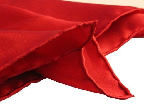 red silk satin POCKET SQUARE