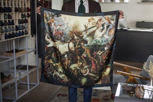 silk 100cm scarf 'The Fall of the Rebel Angels' Pieter Bruegel the Elder