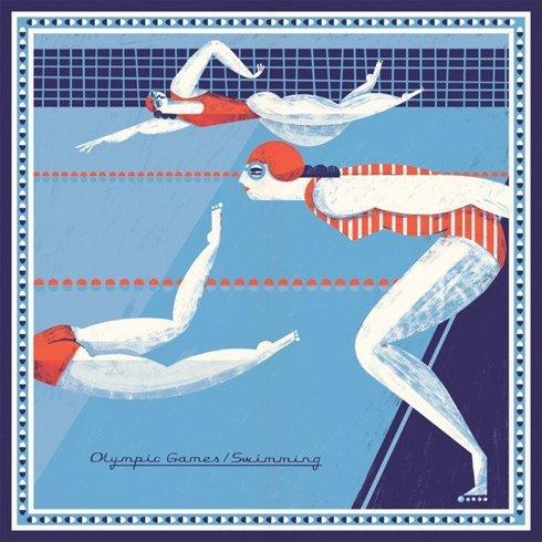 silk pocket square olimpic games / swimming