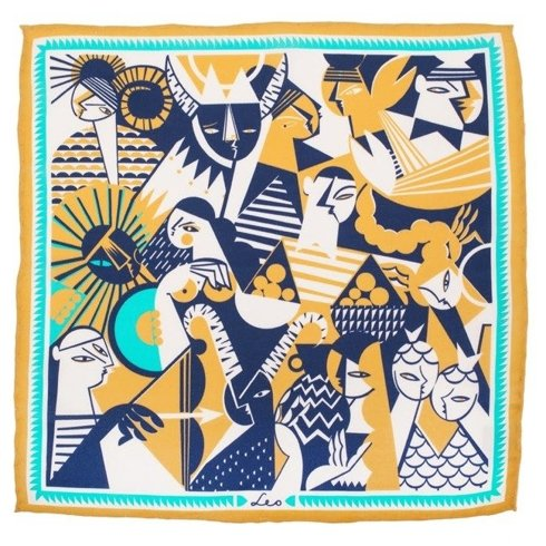 silk pocket square zodiac Leo