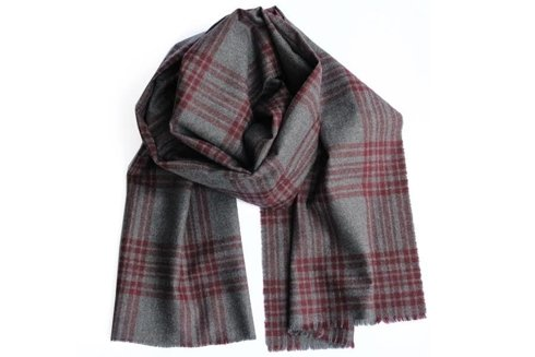 woolen grey scarf with burgundy check