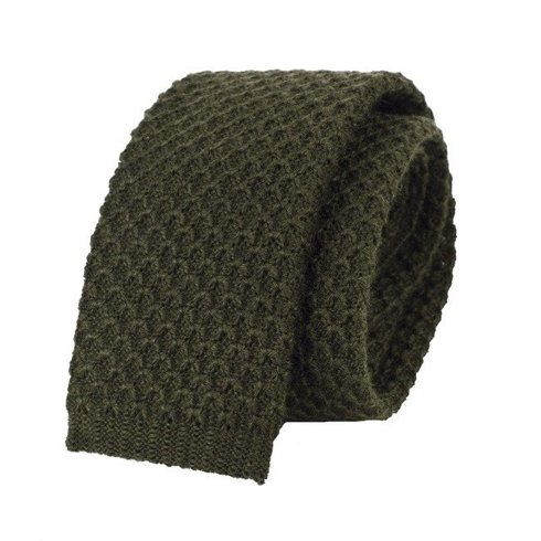 woolen olive green knit tie