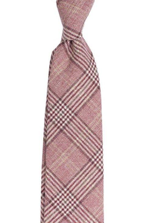 Bawełniano-wełniano-kaszmirowy krawat bez podszewki. Krata w odcieniach borda.
