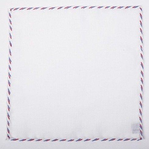 Biała lniana poszetka z kolorowym obszyciem - trzy kolory