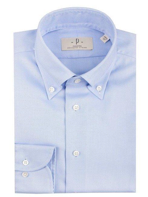 Błękitna koszula o splocie oxford OCBD