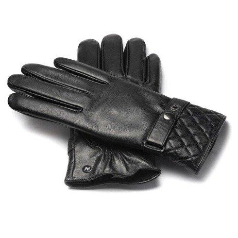 Czarne rękawiczki ze skóry jagnięcej