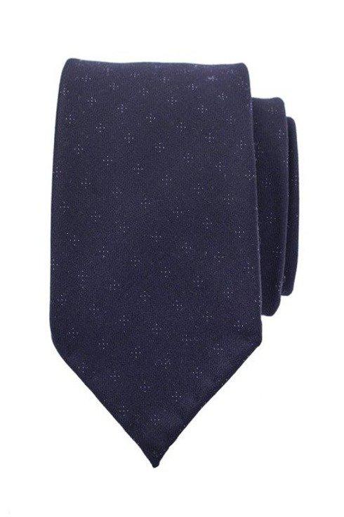 Granatowy krawat w kropeczki bez podszewki
