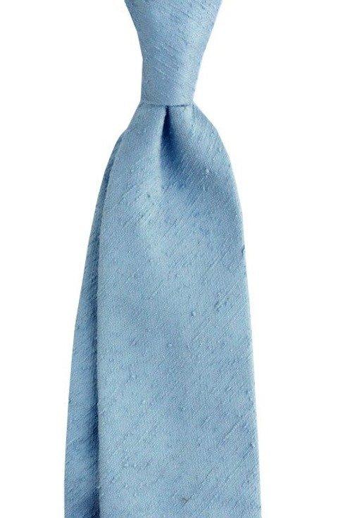 KRAWAT z szantungu pastelowy błękit