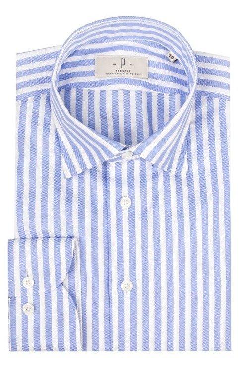 Koszula oxford w delikatny prążek z neapolitańskim wszyciem rękawa