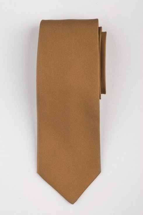 Krawat six fold  z jedwabiu macclesfield miedziany