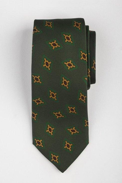 Krawat z jedwabiu Macclesfield zielony w romby