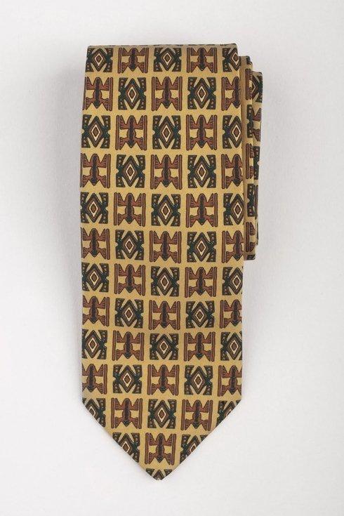Krawat z jedwabiu Macclesfield żółty w ornamenty