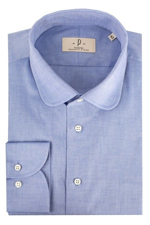 Niebieska koszula o splocie oxford z okrągłym kołnierzem