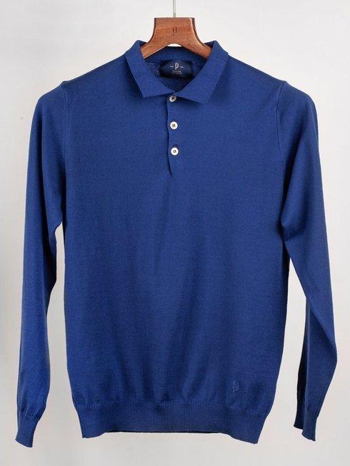 Polo sweter wiosenny - niebieski