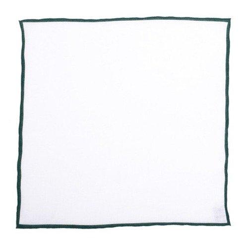 Poszetka lniana z zielonym brzegiem