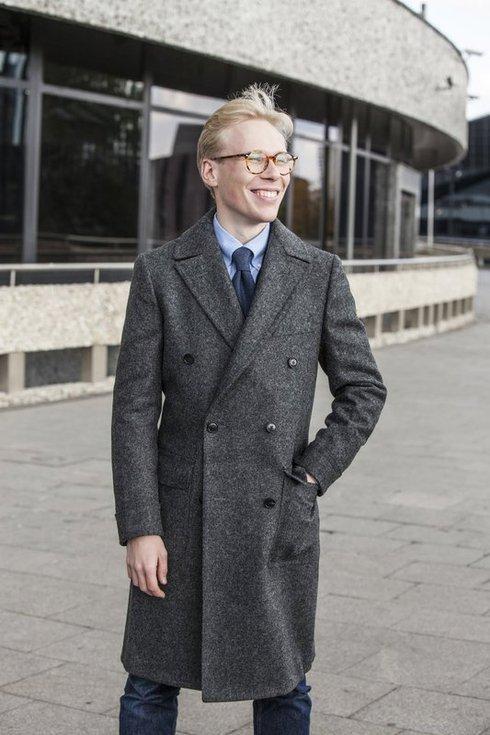 """Szary dwurzędowy płaszcz z tweedu ulster """"Charles"""""""