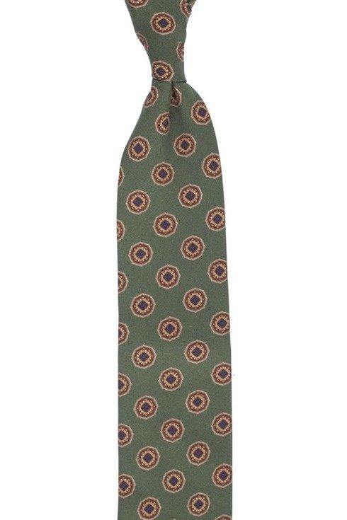 Zielony krawat w medaliony bez podszewki z wełny drukowanej