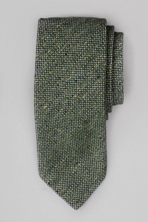 Zielony krawat wełniano- jedwabny w melanżu