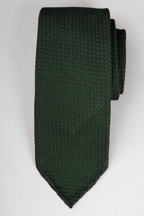 Zielony krawat z grenadyny bez podszewki (garza grossa)