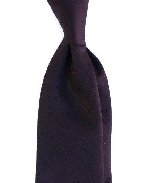 bakłażan WEŁNIANY Krawat BEZ PODSZEWKI
