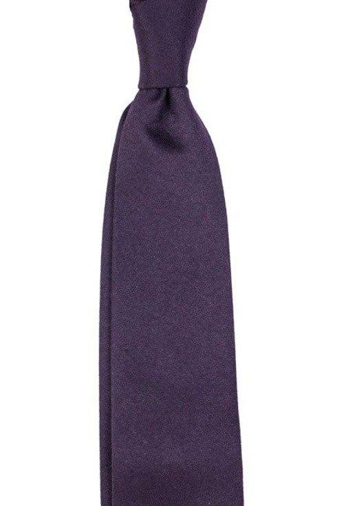 bakłażanowy wełniany krawat bez podszewki