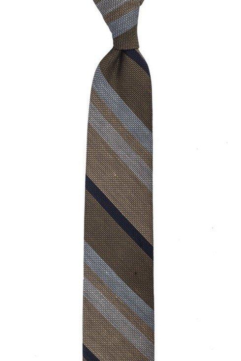 beż z oliwką lniano- jedwabny krawat z grenadyny