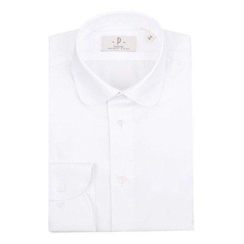 biała koszula o splocie oxford z okrągłym kołnierzem