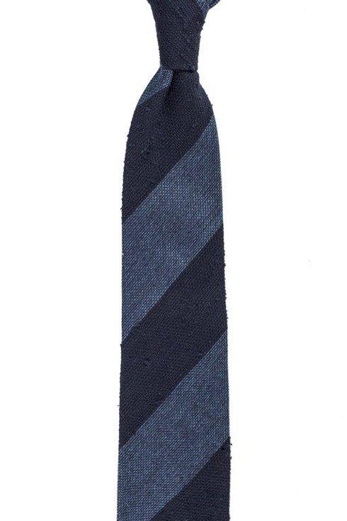 granatowo- niebieski krawat bez podszewki z grenadyny i szantungu
