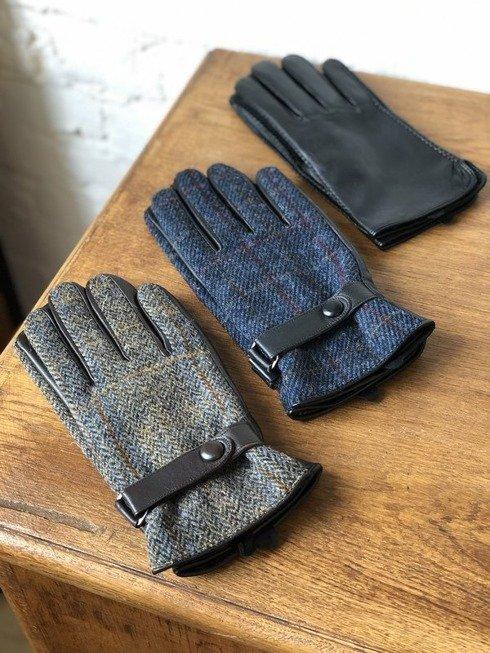ocieplane rękawiczki z z harris tweedu, niebieskie