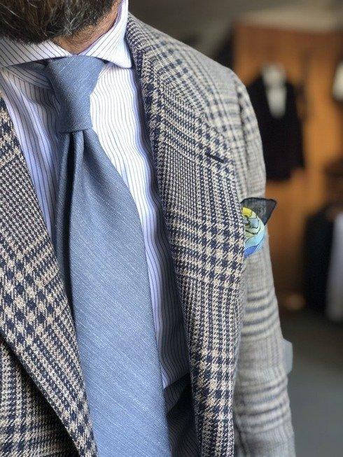 pastelowy błękit lniano- jedwabny krawat