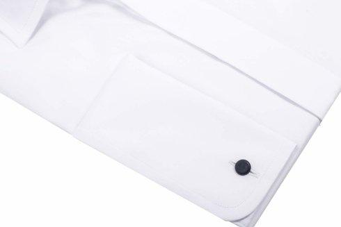 Klasyczna biała koszula z plisą krytą i mankietem na spinki - Albini