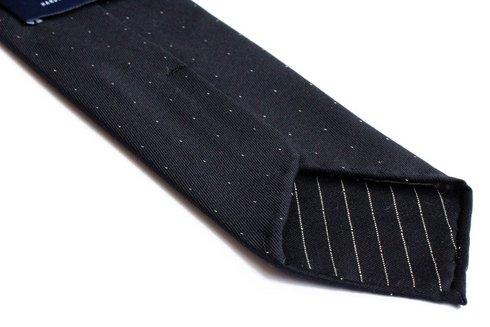 Krawat wełniany BEZ PODSZEWKI w drobne kropki
