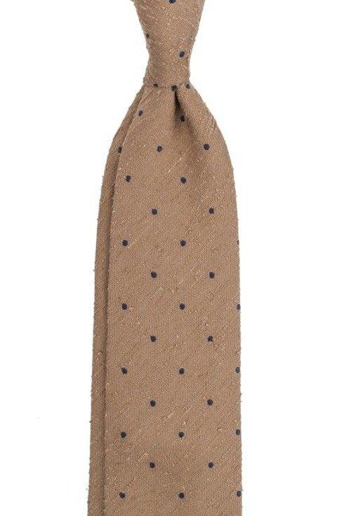 Szafranowy krawat z szantungu bez podszewki