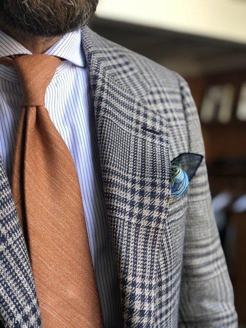 pastelowa pomarańcz lniano- jedwabny krawat